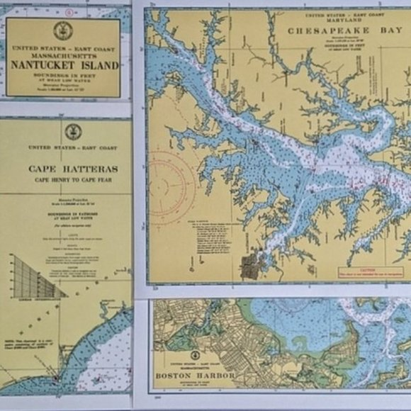 Vintage Mariners Chart/Map Placemats 4 East Coast